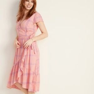 Old Navy Waist-Defined Faux-Wrap Midi Dress Large